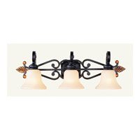 Livex Lighting Tuscany 3 Light Bath Light in Copper Bronze with Aged Gold Leaves 4413-56