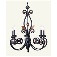 Livex 4415-56 Tuscany 5 Light 27 inch Copper Bronze with Aged Gold Leaves Chandelier Ceiling Light