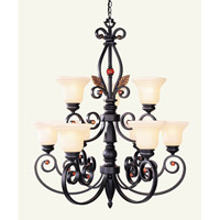 Livex Lighting Tuscany 9 Light Chandelier in Copper Bronze with Aged Gold Leaves 4419-56