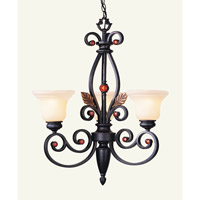 Tuscany 3 Light 24 inch Copper Bronze with Aged Gold Leaves Chandelier Ceiling Light