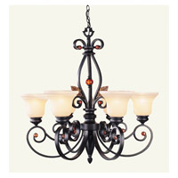 Livex Lighting Tuscany 6 Light Chandelier in Copper Bronze with Aged Gold Leaves 4426-56