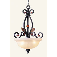 Tuscany 3 Light 20 inch Copper Bronze with Aged Gold Leaves Chandelier Ceiling Light