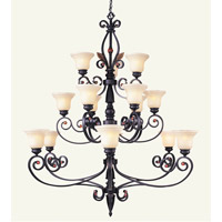 Livex Lighting Tuscany 15 Light Chandelier in Copper Bronze with Aged Gold Leaves 4429-56