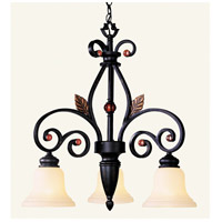 Livex 4433-56 Tuscany 3 Light 24 inch Copper Bronze with Aged Gold Leaves Chandelier Ceiling Light