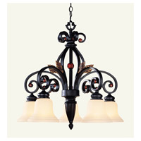 Tuscany 5 Light 28 inch Copper Bronze with Aged Gold Leaves Chandelier Ceiling Light