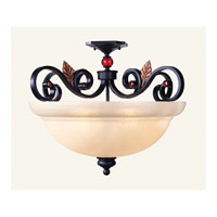 Livex Lighting Tuscany 4 Light Semi-Flush Mount in Copper Bronze with Aged Gold Leaves 4439-56