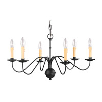 Heritage 6 Light 28 inch Black Chandelier Ceiling Light