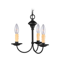 Heritage 3 Light 13 inch Black Mini Chandelier Ceiling Light