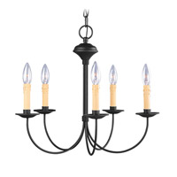 Livex 4455-04 Heritage 5 Light 20 inch Black Chandelier Ceiling Light