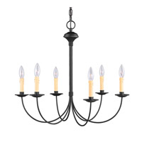 Heritage 6 Light 26 inch Black Chandelier Ceiling Light