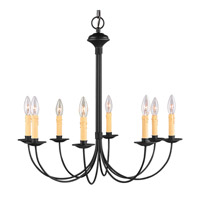 Livex 4458-04 Heritage 8 Light 24 inch Black Chandelier Ceiling Light