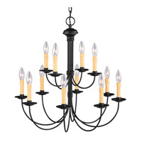 Heritage 12 Light 26 inch Black Chandelier Ceiling Light