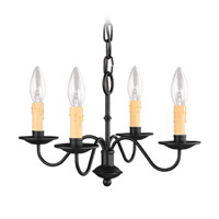 Heritage 4 Light 15 inch Black Mini Chandelier Ceiling Light