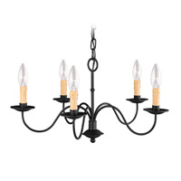 Heritage 5 Light 20 inch Black Chandelier Ceiling Light