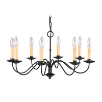 Heritage 8 Light 25 inch Black Chandelier Ceiling Light