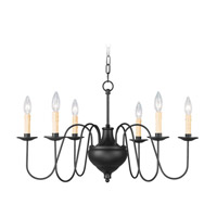 Heritage 6 Light 29 inch Black Chandelier Ceiling Light