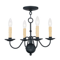 Livex 4494-04 Heritage 4 Light 17 inch Black Mini Chandelier Ceiling Light