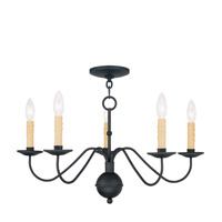 Heritage 5 Light 24 inch Black Chandelier Ceiling Light