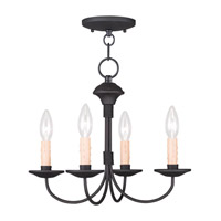 Livex 4524-04 Heritage 4 Light 15 inch Black Mini Chandelier/Ceiling Mount Ceiling Light