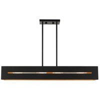 Livex Lighting 45957-14 Soma 4 Light 36 inch Textured Black with Brushed Nickel Accents Linear Chandelier Ceiling Light
