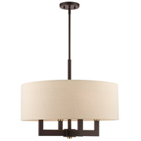 Livex 46166-07 Cresthaven 4 Light 24 inch Bronze with Antique Brass Accents Chandelier Ceiling Light