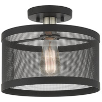 Livex 46216-04 Industro 1 Light 11 inch Black with Brushed Nickel Accents Semi Flush Ceiling Light