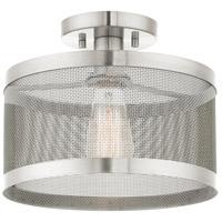 Livex 46216-91 Industro 1 Light 11 inch Brushed Nickel Semi Flush Ceiling Light