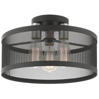 Livex 46218-04 Industro 3 Light 15 inch Black with Brushed Nickel Accents Semi Flush Ceiling Light