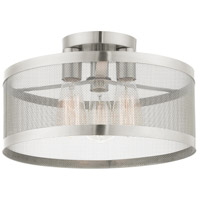 Livex Lighting 46218-91 Industro 3 Light 15 inch Brushed Nickel Semi Flush Ceiling Light