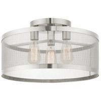Livex 46219-91 Industro 3 Light 18 inch Brushed Nickel Semi Flush Ceiling Light
