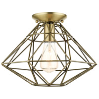 Livex 46248-01 Geometric 1 Light 14 inch Antique Brass Flush Mount Ceiling Light