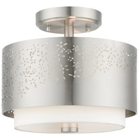 Livex 46267-91 Noria 2 Light 12 inch Brushed Nickel Semi Flush Ceiling Light