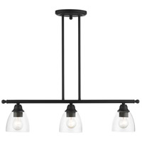 Livex 46337-04 Montgomery 3 Light 30 inch Black Linear Chandelier Ceiling Light