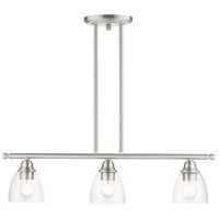 Livex Lighting 46337-91 Montgomery 3 Light 30 inch Brushed Nickel Linear Chandelier Ceiling Light