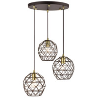 Livex Lighting 46593-07 Geometrix 3 Light 20 inch Bronze Pendant Ceiling Light