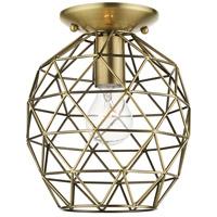 Livex 46598-01 Geometrix 1 Light 8 inch Antique Brass Flush Mount Ceiling Light