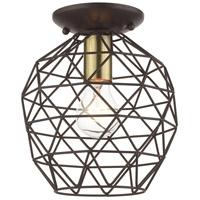Livex 46598-07 Geometrix 1 Light 8 inch Bronze Flush Mount Ceiling Light