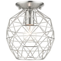 Livex 46598-91 Geometrix 1 Light 8 inch Brushed Nickel Flush Mount Ceiling Light