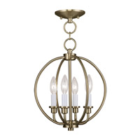 Livex Lighting Milania 4 Light Pendant/Ceiling Mount in Antique Brass 4664-01