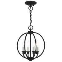 Livex Lighting 4664-04 Milania 4 Light 13 inch Black with Brushed Nickel Accents Convertible Semi Flush/Chandelier Ceiling Light