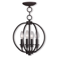 Livex 4664-07 Milania 4 Light 13 inch Bronze Pendant/Ceiling Mount Ceiling Light