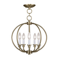 Livex Lighting Milania 5 Light Pendant/Ceiling Mount in Antique Brass 4665-01