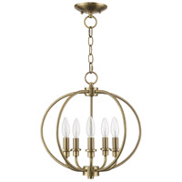 Livex 4665-01 Milania 5 Light 16 inch Antique Brass Pendant/Ceiling Mount Ceiling Light