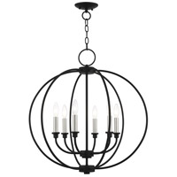 Livex Lighting 4666-04 Milania 6 Light 25 inch Black with Brushed Nickel Accents Chandelier Ceiling Light