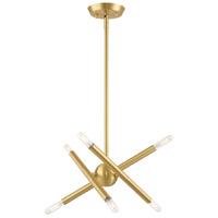 Livex 46773-12 Soho 6 Light 13 inch Satin Brass Chandelier Ceiling Light