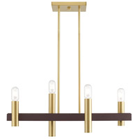 Livex 46864-12 Helsinki 4 Light 8 inch Satin Brass with Bronze Accents Chandelier Ceiling Light