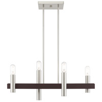 Livex 46864-91 Helsinki 4 Light 8 inch Brushed Nickel with Bronze Accents Chandelier Ceiling Light