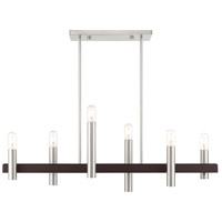 Livex 46866-91 Helsinki 6 Light 8 inch Brushed Nickel with Bronze Accents Chandelier Ceiling Light