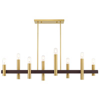 Livex 46868-12 Helsinki 8 Light 10 inch Satin Brass with Bronze Accents Chandelier Ceiling Light