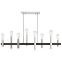 Livex 46868-91 Helsinki 8 Light 10 inch Brushed Nickel with Bronze Accents Chandelier Ceiling Light alternative photo thumbnail
